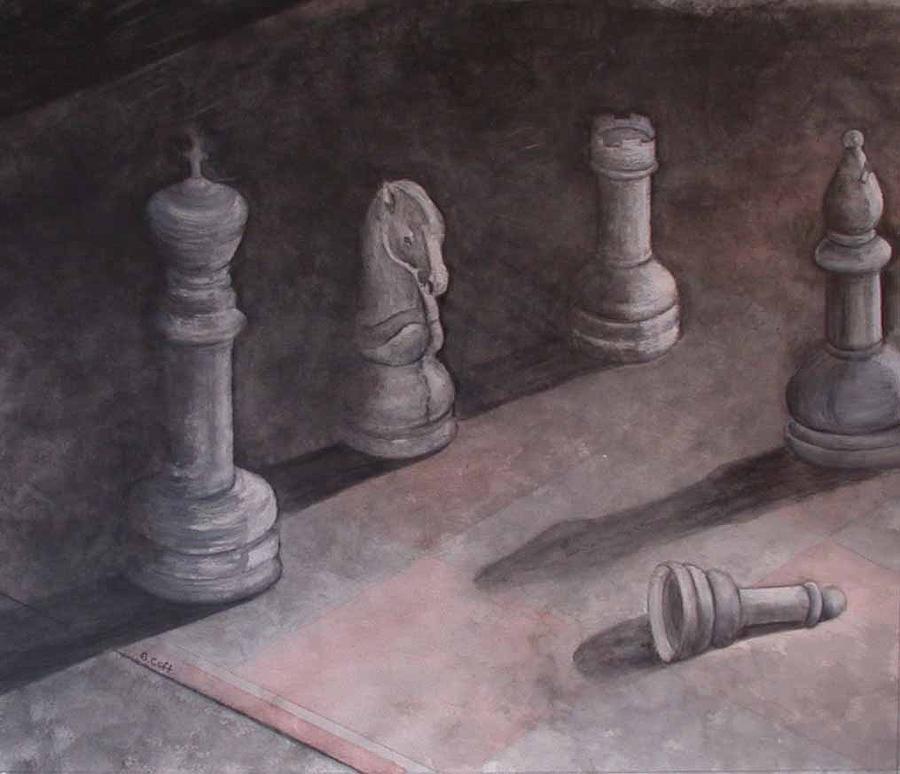 Fallen Chessman Painting