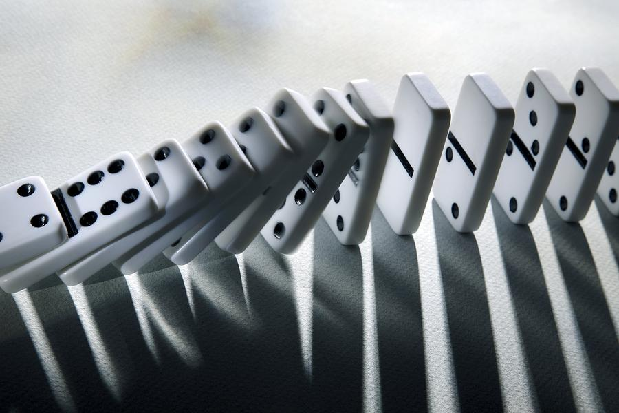 Falling Dominoes Photograph