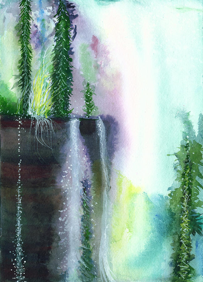 Falling Waters 1 Painting  - Falling Waters 1 Fine Art Print