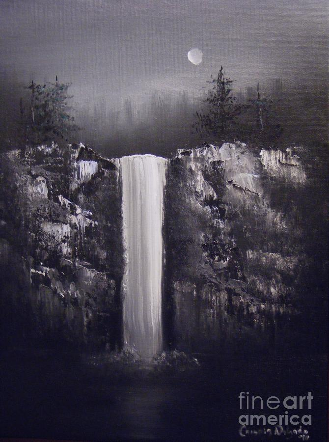 Falls By Moonlight Painting  - Falls By Moonlight Fine Art Print