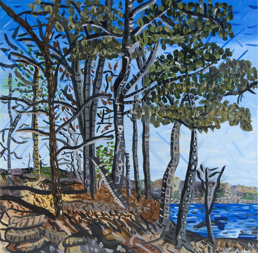 Falls Lake At Blue Jay Point Painting  - Falls Lake At Blue Jay Point Fine Art Print
