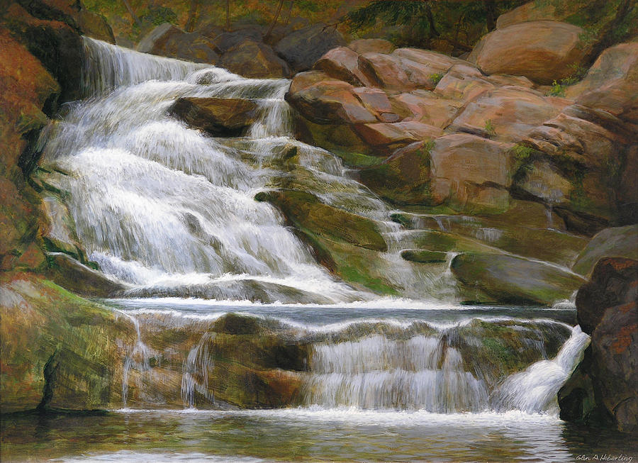 Falls Of Doodletown Creek Painting  - Falls Of Doodletown Creek Fine Art Print