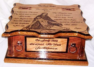 Family Bible Box Woodburned Solid Oak And Cherry Sculpture