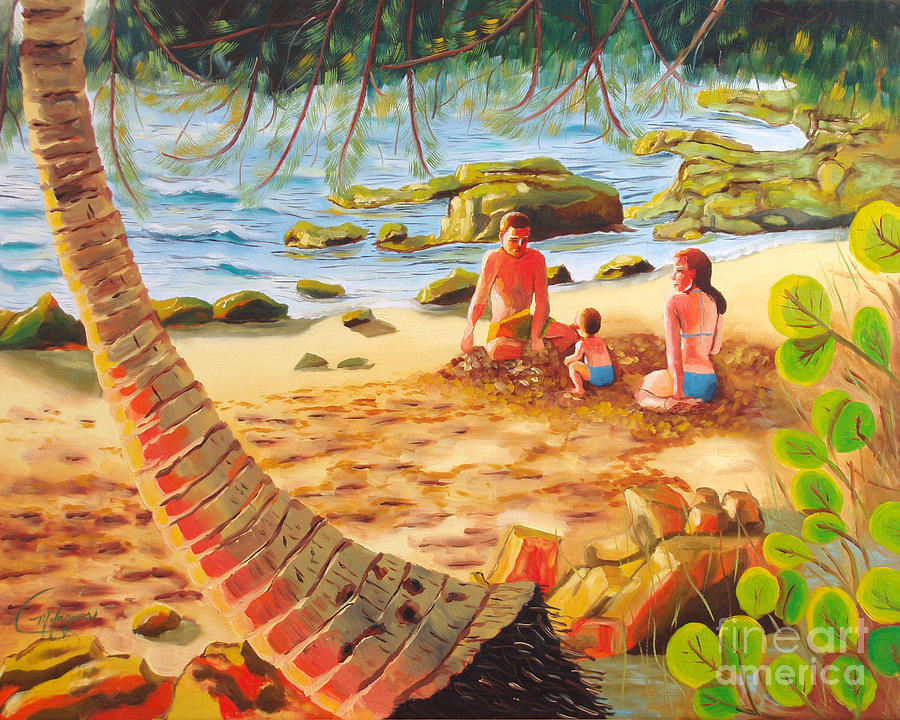 Family Day At Jobos Beach Painting  - Family Day At Jobos Beach Fine Art Print