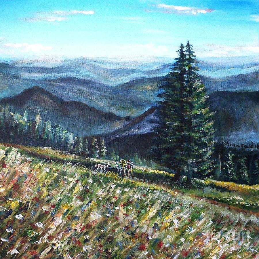 Family Hike Painting  - Family Hike Fine Art Print