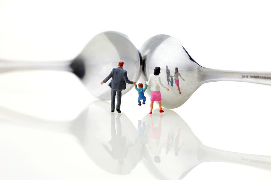 Family In Front Of Spoon Distoring Mirrors II Photograph  - Family In Front Of Spoon Distoring Mirrors II Fine Art Print