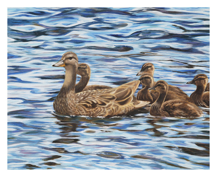 Mallard Ducks Painting - Family Outing by Tammy  Taylor