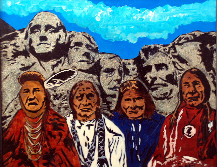 Native Americans Pyrography - Famous Fathers by Mike Holder