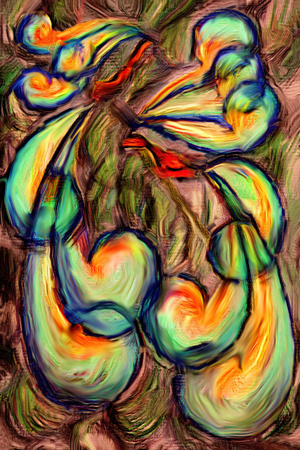 Bird Digital Art - Fanciful Birds by Judi Quelland