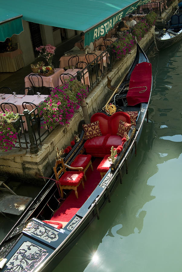 Fancy Gondola Parked In A Canal Next Photograph  - Fancy Gondola Parked In A Canal Next Fine Art Print