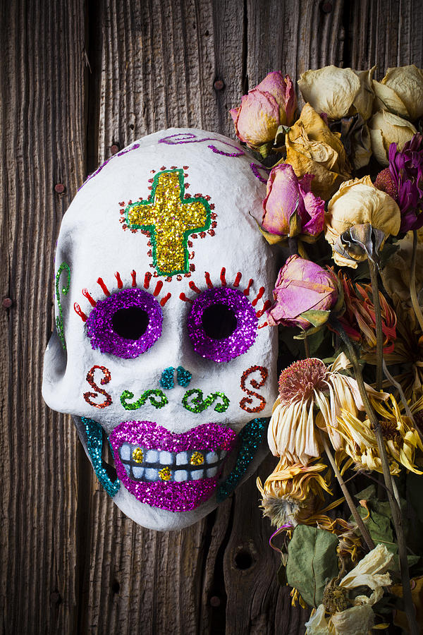 Fancy Skull And Dead Flowers Photograph