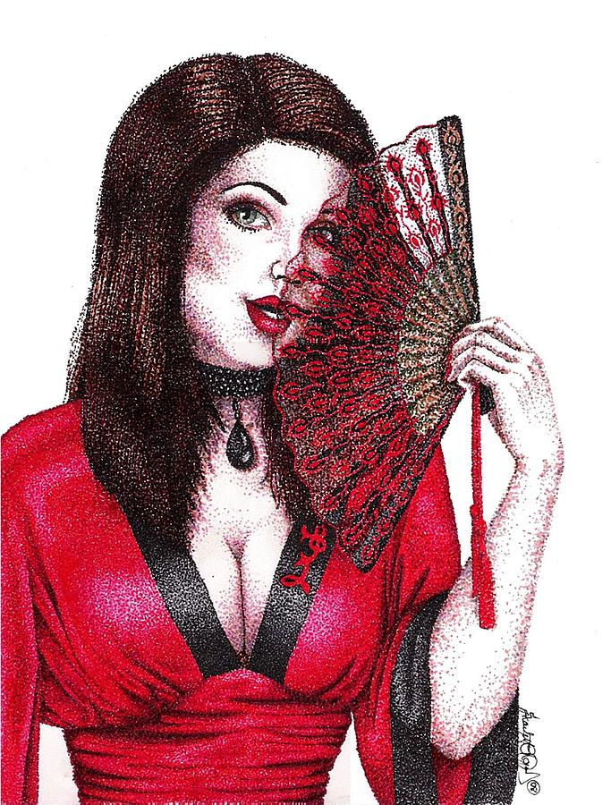 Fanning Flirtation Drawing  - Fanning Flirtation Fine Art Print