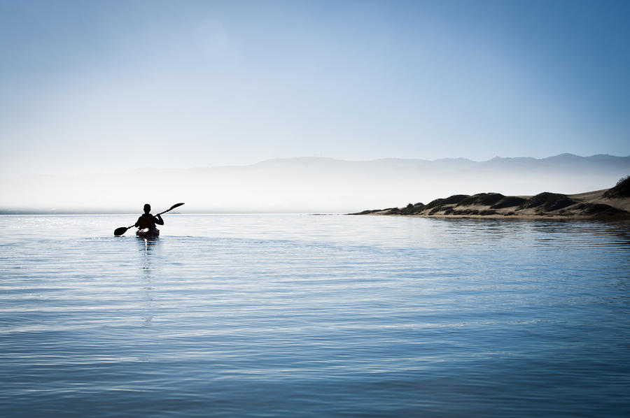 Faraway Kayaker In Morro Bay Photograph  - Faraway Kayaker In Morro Bay Fine Art Print