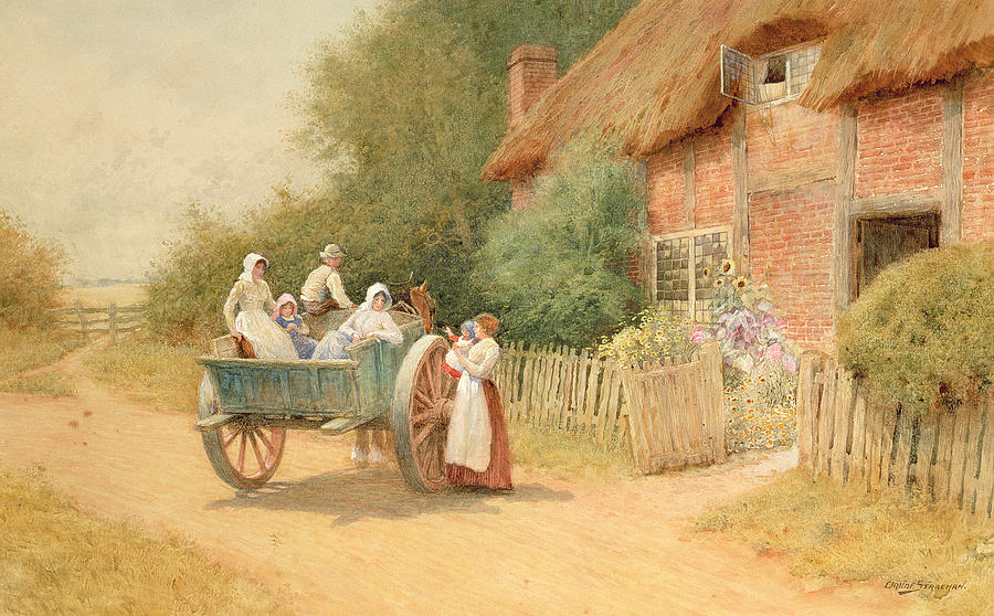 Horse And Cart; Cottage Garden; Rural; Countryside; Vernacular Architecture; Summer; Mother And Child; Baby; Thatched; Waving; Seeing Off Painting - Farewell by Arthur Claude Strachan