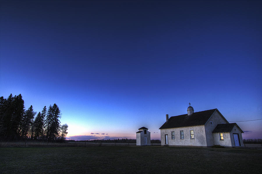 Colour Image Photograph - Farm House In Field At Sunset, Fort by Dan Jurak