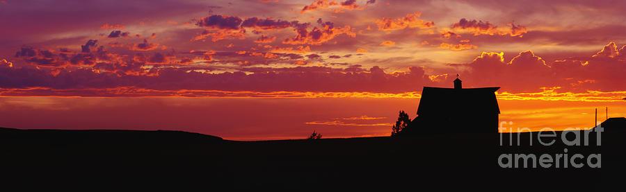 Farm Photograph - Farm Sunset by Joe Sohm and ChromoSohm and Photo Researchers