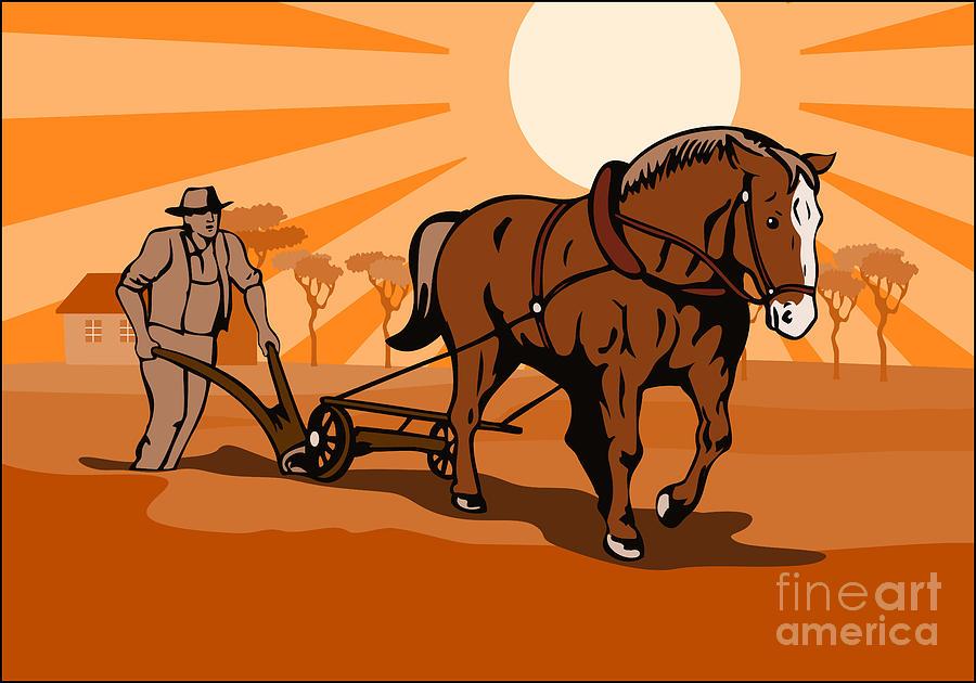 Farmer And Horse Plowing Farm Retro Digital Art