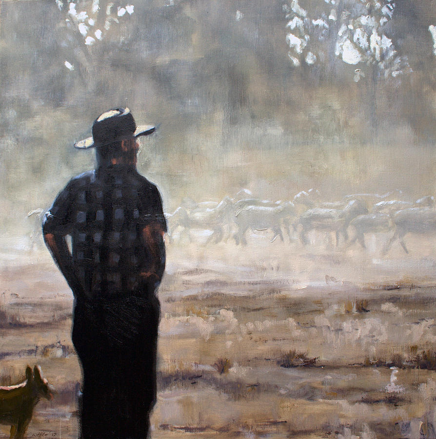 Farmer Painting - Farmer And Sheep by Gaye White