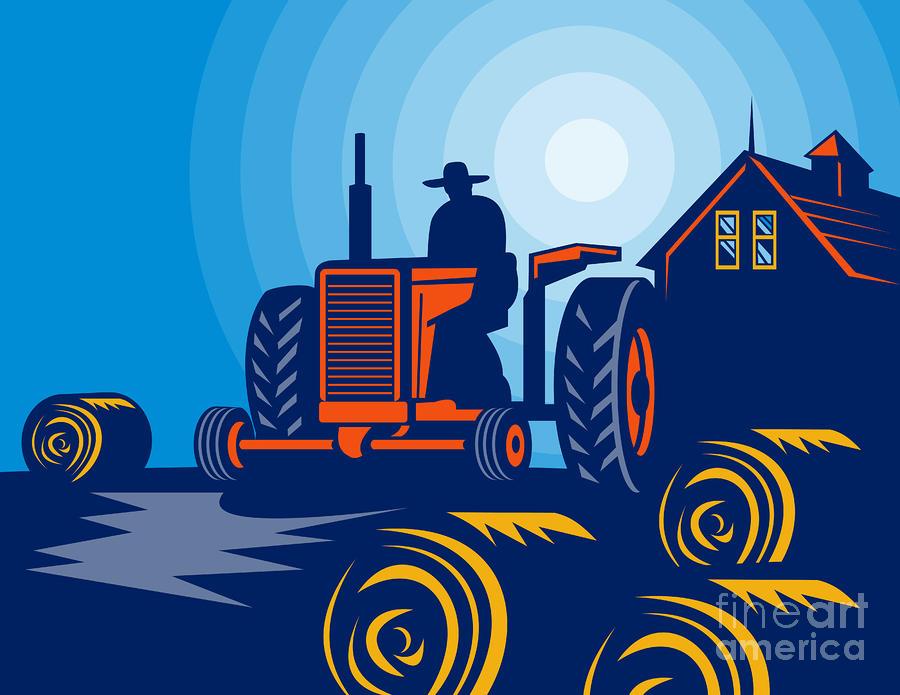 Farmer Driving Vintage Tractor Digital Art