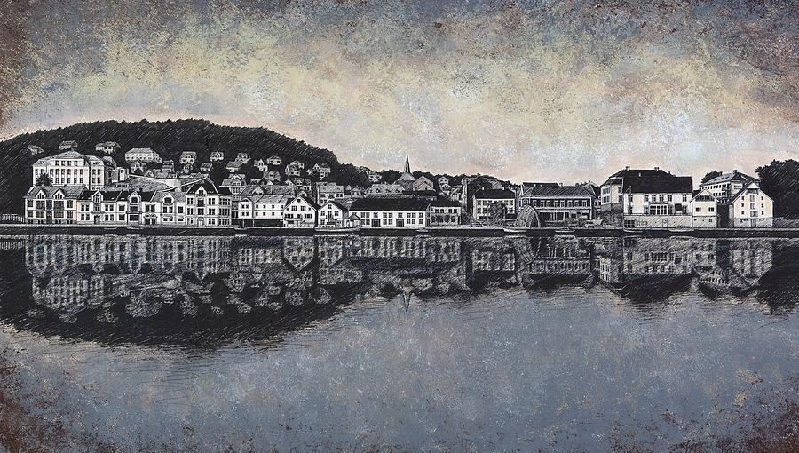 Farsund Waterfront Drawing  - Farsund Waterfront Fine Art Print