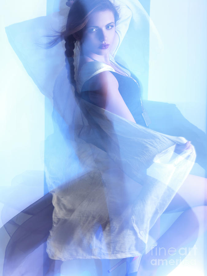 Fashion Photo Of A Woman In Shining Blue Settings Photograph  - Fashion Photo Of A Woman In Shining Blue Settings Fine Art Print