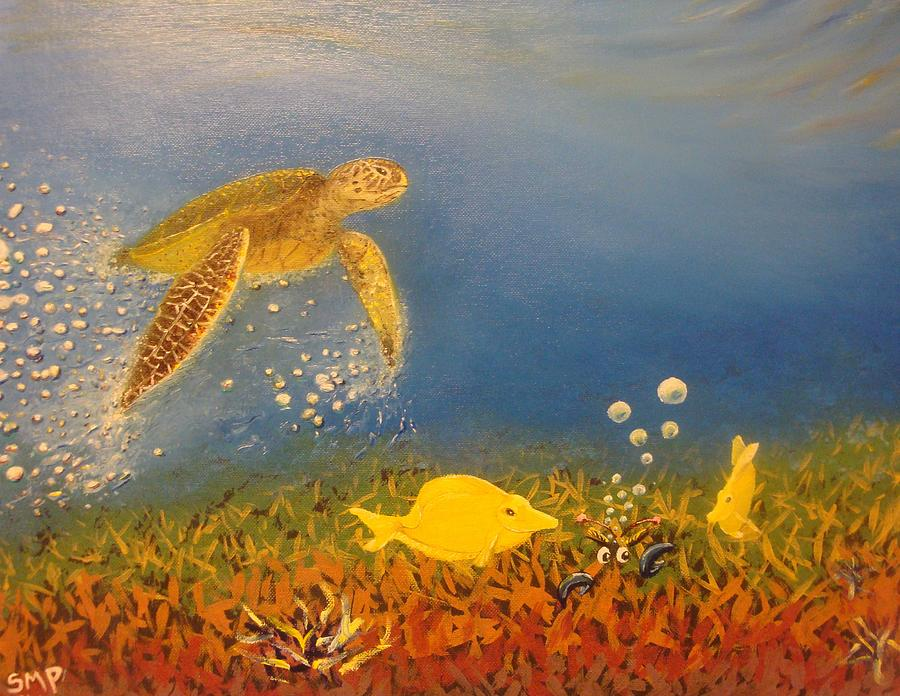 Fast Swimming Sea Turtle Approaching Yellow Tang Fish And An Angry Crab Painting  - Fast Swimming Sea Turtle Approaching Yellow Tang Fish And An Angry Crab Fine Art Print