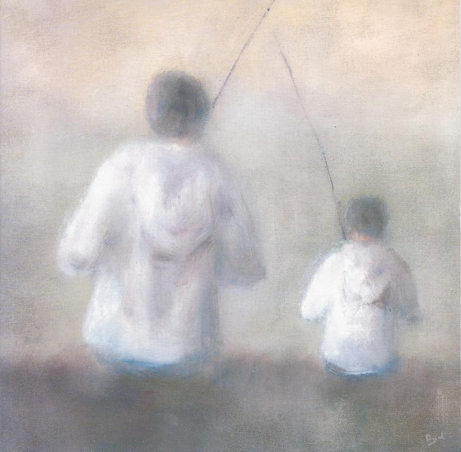 Father And Son Fishing Painting  - Father And Son Fishing Fine Art Print
