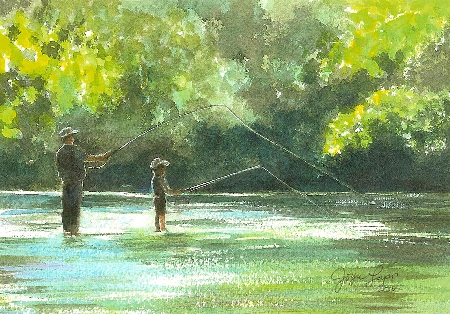 Father and son fishing painting for Father son fishing