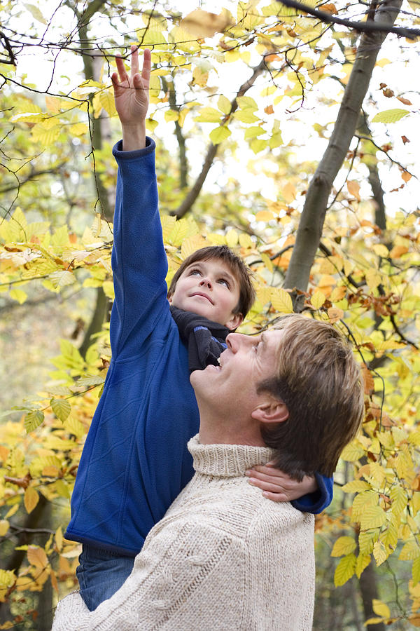 Father Carrying His Son In A Wood Photograph  - Father Carrying His Son In A Wood Fine Art Print