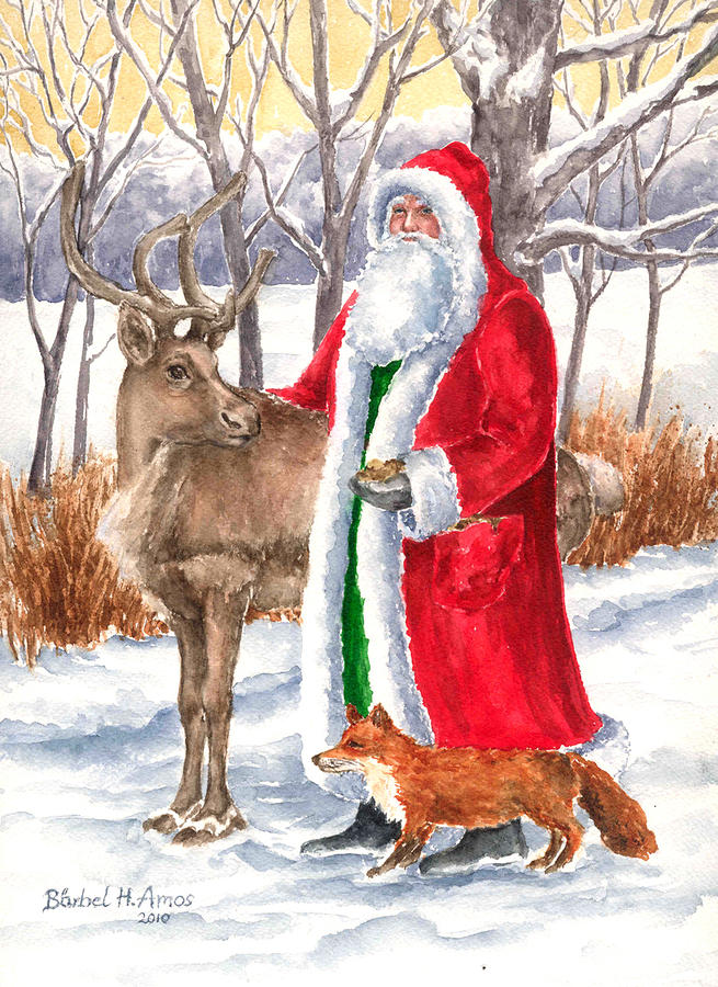 Father Christmas Painting  - Father Christmas Fine Art Print