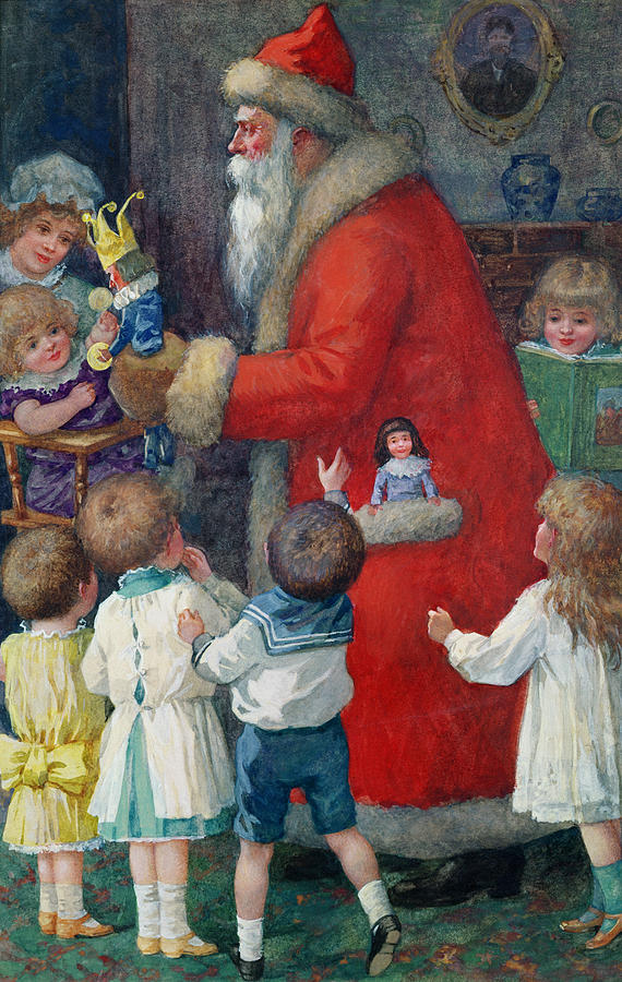 Father Christmas With Children Painting  - Father Christmas With Children Fine Art Print
