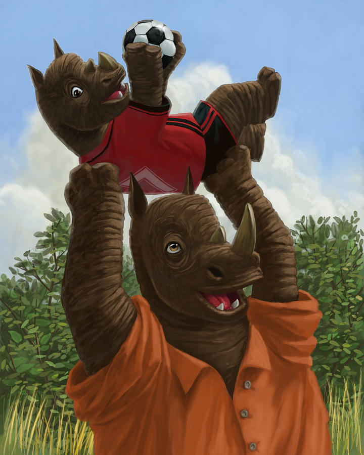 father Rhino with son Painting