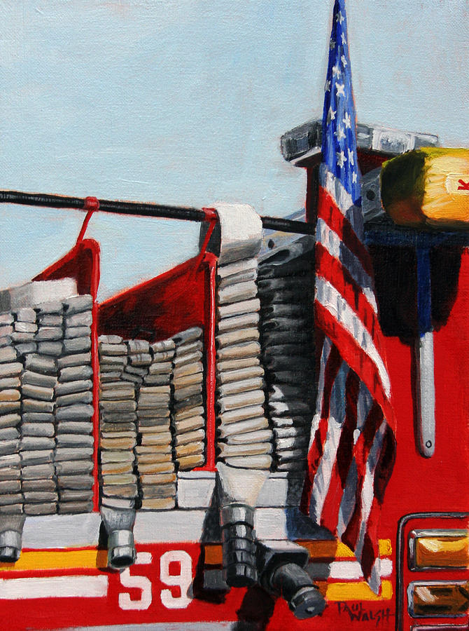 Fdny Engine 59 American Flag Painting  - Fdny Engine 59 American Flag Fine Art Print