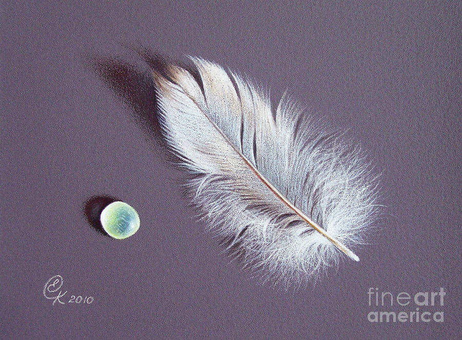 Feather And Sea Glass 2 Drawing  - Feather And Sea Glass 2 Fine Art Print