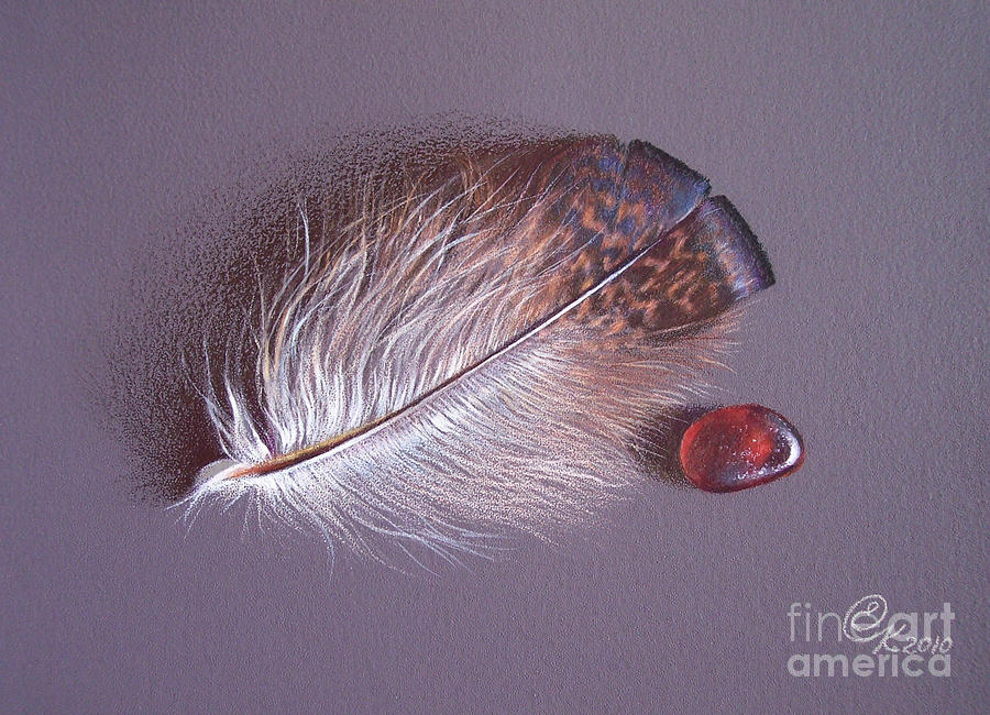 Feather And Sea Glass 3 Drawing  - Feather And Sea Glass 3 Fine Art Print