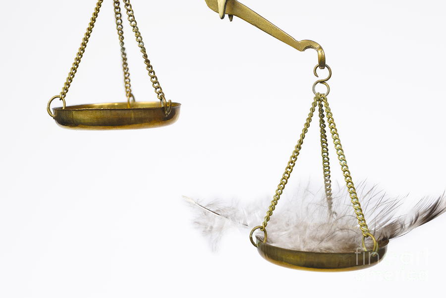 Feather On Weighing Scales Photograph
