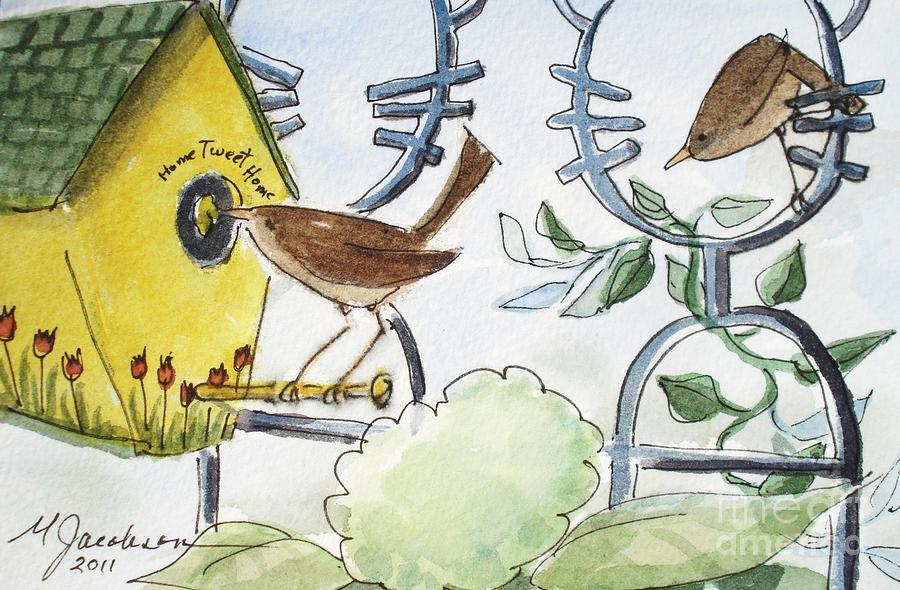 Bird Painting - Feeding The Baby Wrens by Marilyn Jacobson