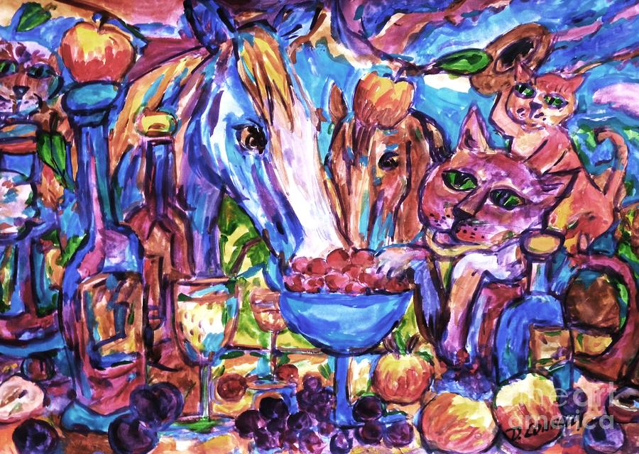 Feline Equine Party Time Painting  - Feline Equine Party Time Fine Art Print