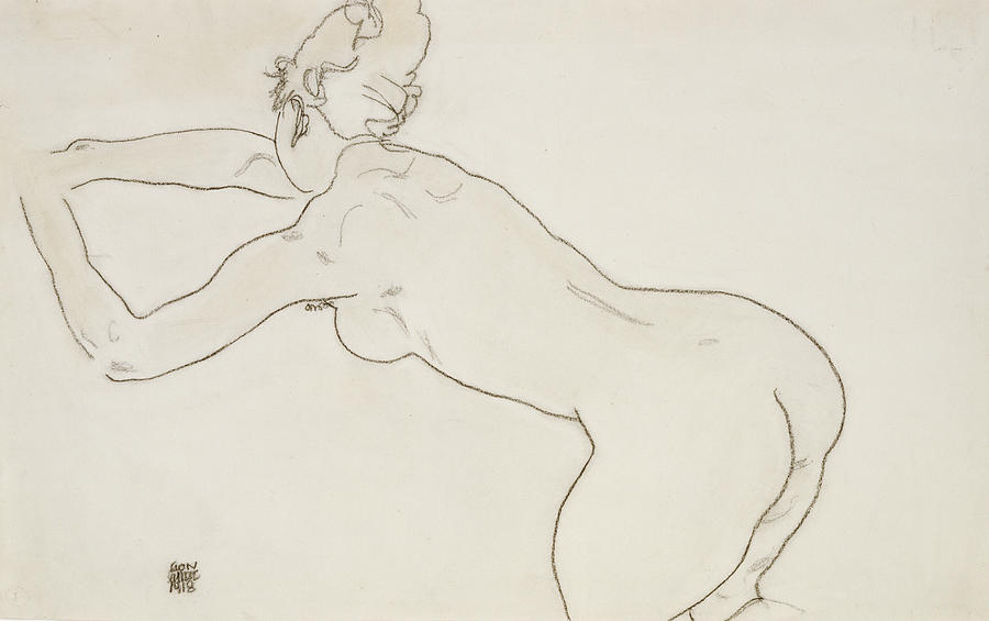 Female Nude Kneeling And Bending Forward To The Left Painting  - Female Nude Kneeling And Bending Forward To The Left Fine Art Print