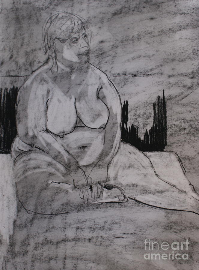 Female Nude Seated Drawing