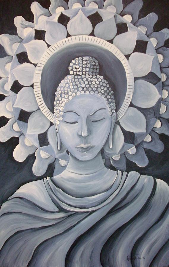 Feminine Buddha In A Peaceful Place Painting  - Feminine Buddha In A Peaceful Place Fine Art Print