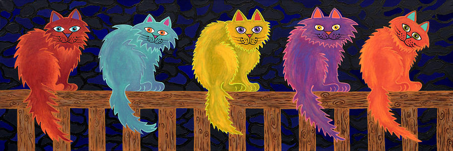Fence Cats Painting