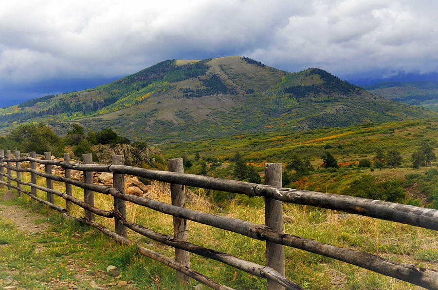 Fence Row And Mountains Photograph