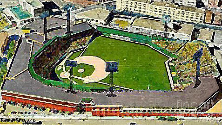 Fenway Park Baseball Stadium In Boston Ma In 1940 Painting  - Fenway Park Baseball Stadium In Boston Ma In 1940 Fine Art Print