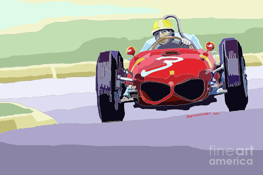 Ferrari 156 Dino 1962 Dutch Gp Digital Art  - Ferrari 156 Dino 1962 Dutch Gp Fine Art Print