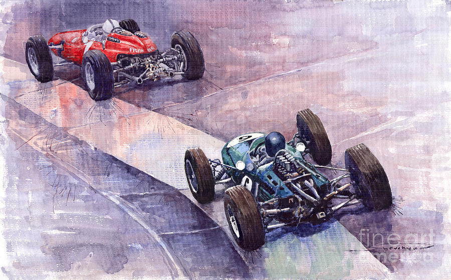 Ferrari 158 Vs Brabham Climax German Gp 1964 Painting