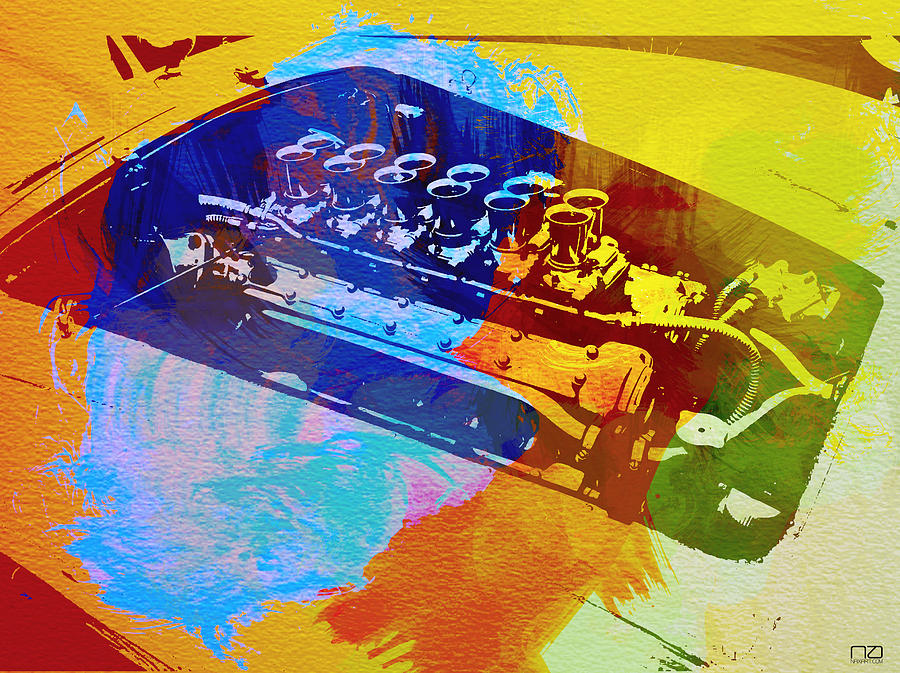 Ferrari Engine Watercolor Digital Art  - Ferrari Engine Watercolor Fine Art Print