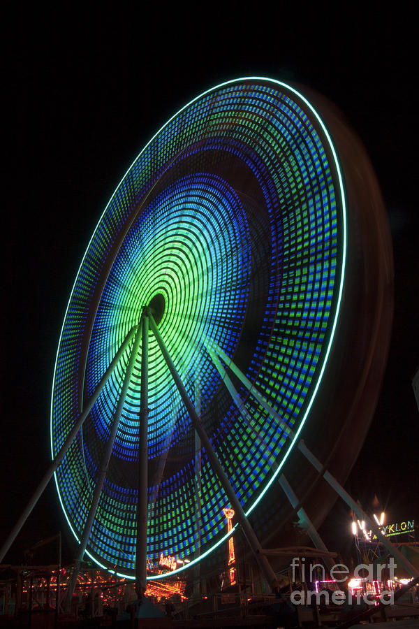 Ferris Wheel Lit Shades Of Green And Blue Photograph  - Ferris Wheel Lit Shades Of Green And Blue Fine Art Print