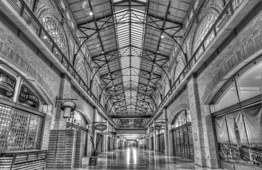 Ferry Market Building Black And White Photograph