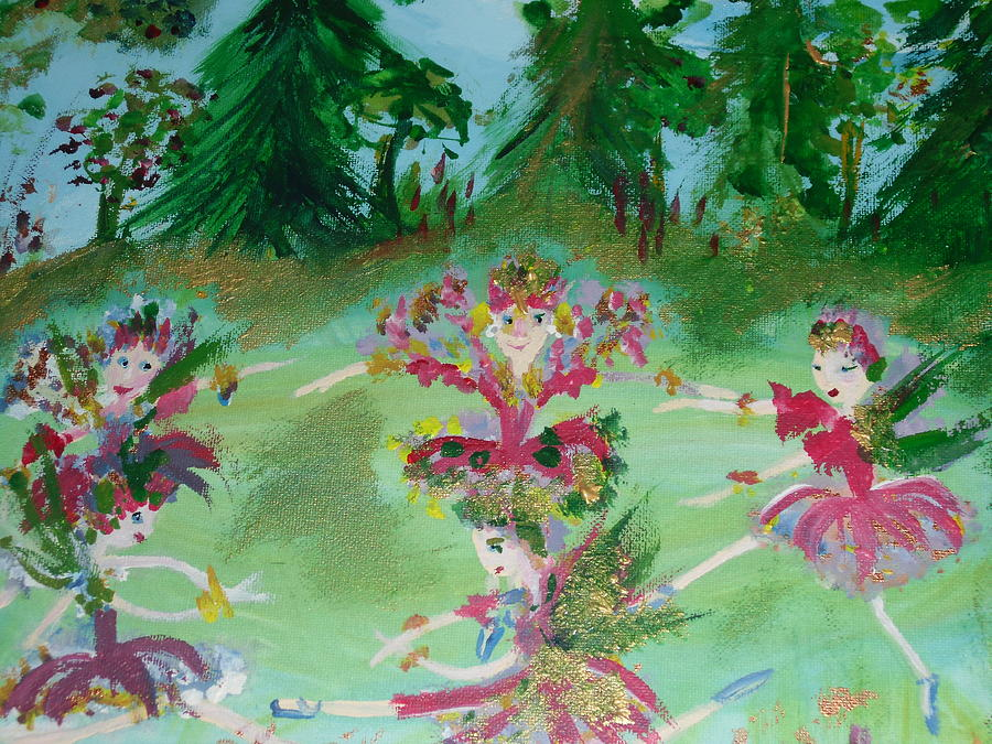 Festive Fairies Painting  - Festive Fairies Fine Art Print